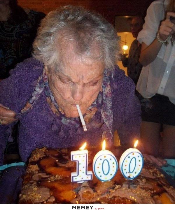 A Woman Lighting Cigarette Using Candles On Cake For Her 100th Birthday