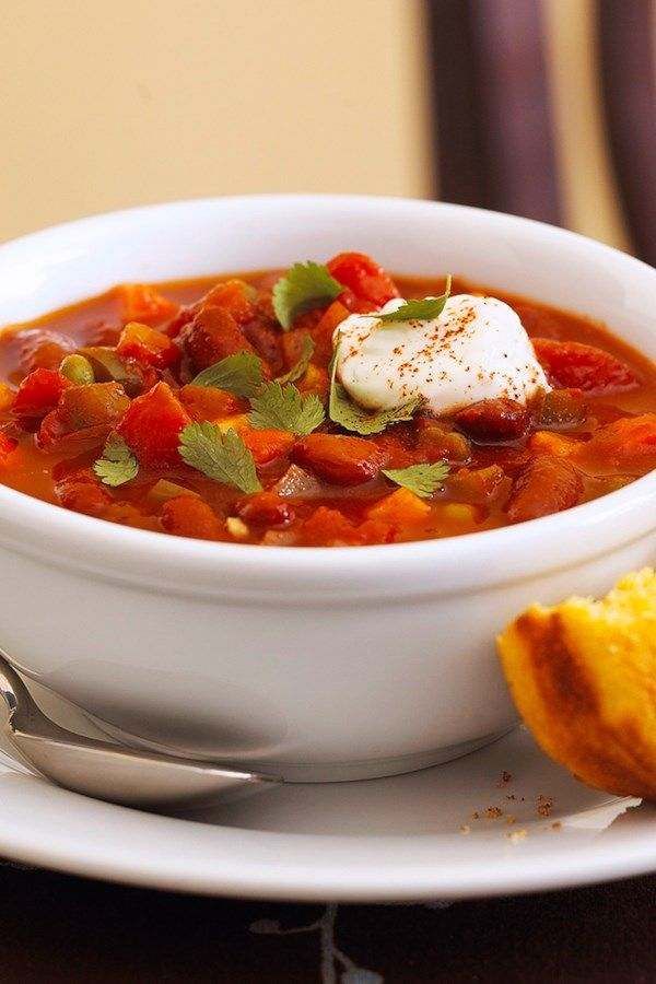 Quick Vegetarian Chili By consciously choosing no-salt-added and salt-free ingredients, we've kept the sodium low in this hearty, meatless chili recipe.