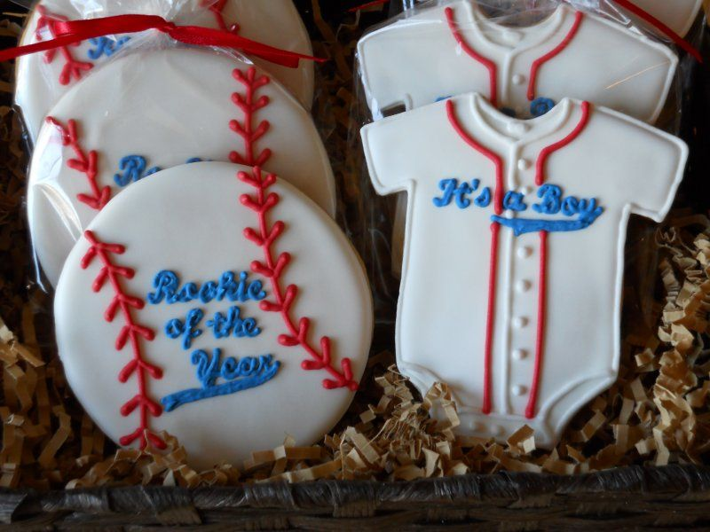 Baseball Theme Iced Decorated Cookies For Baby Boy Or Girl