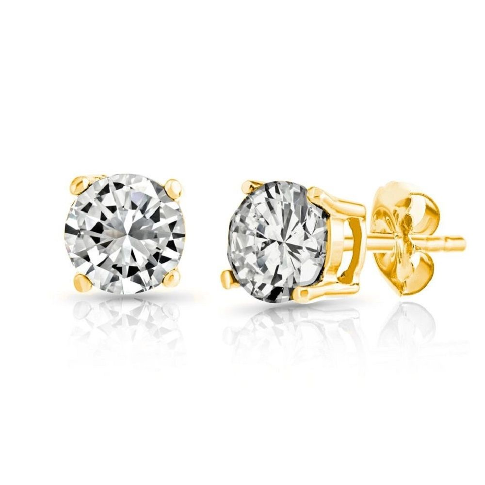 Peermont 10k Gold Cz Stud Earrings 3mm In 2020 Topaz Stud Earrings Cz Stud Earrings Beautiful Stud Earrings