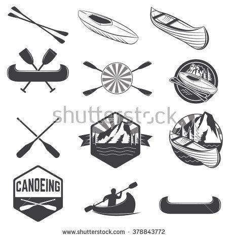Set Of Canoeing Labels And Design Elements Kayak Rafting Vector For Label Logo Emblem Illustration