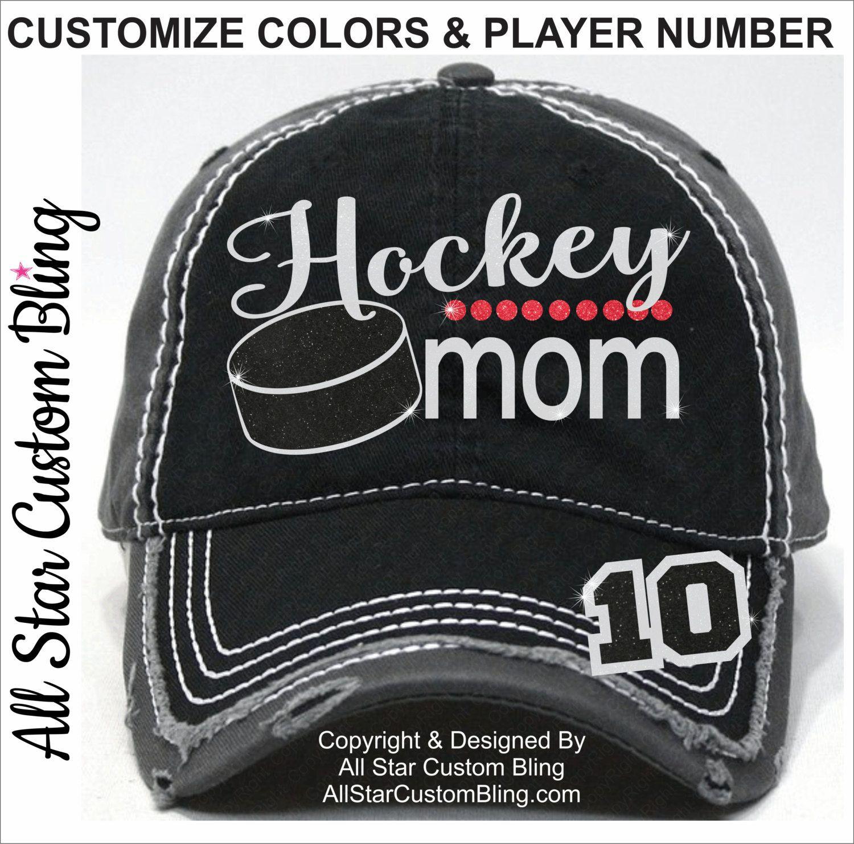 Glitter Hockey Mom Hat 4205aa6be91