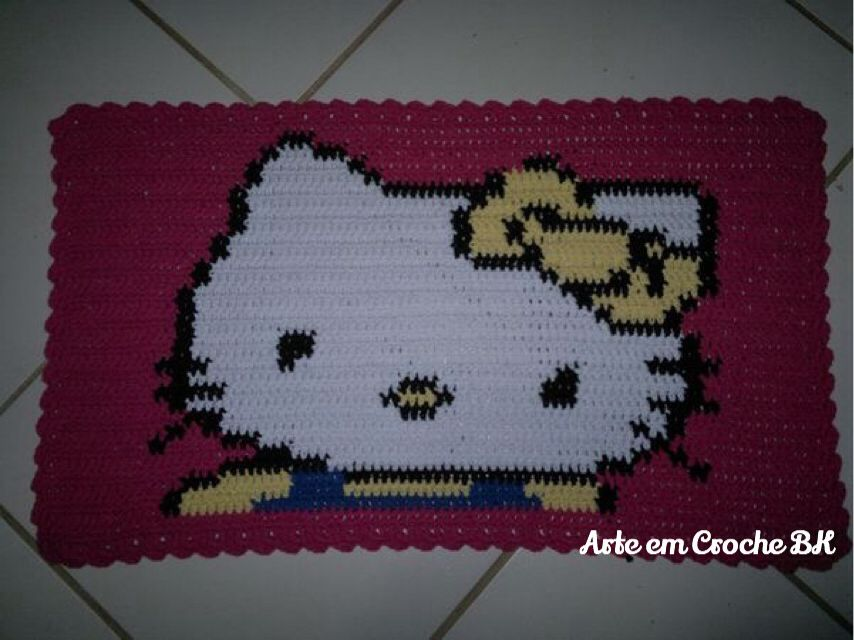 Hello Kitty | Tapete Croche Hello Kitty - Rug Crochet Hello Kitty ...