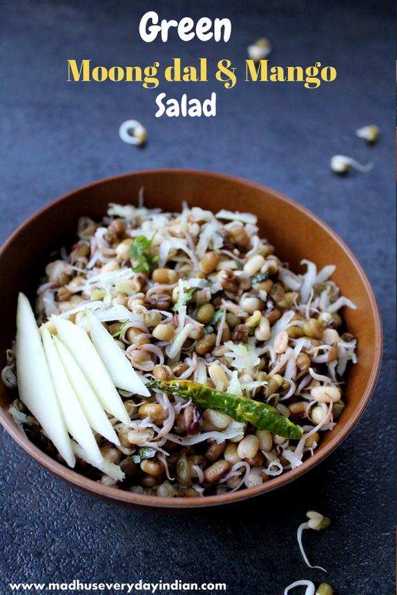 Kosambari Recipe Sprouted Green Moong Dal And Mango Kosambari Salad Recipe Indian Salads Sprouts Recipes Indian Healthy Indian Recipes