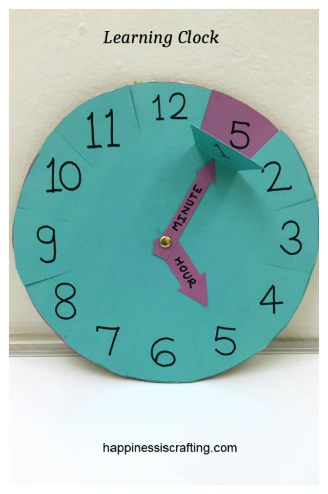 Learning Clock For Kids Kids Crafts Teaching Kids Learning