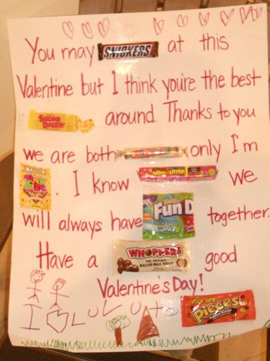 Candy Card Kids Crafts Homemade Valentine For Dad From Son
