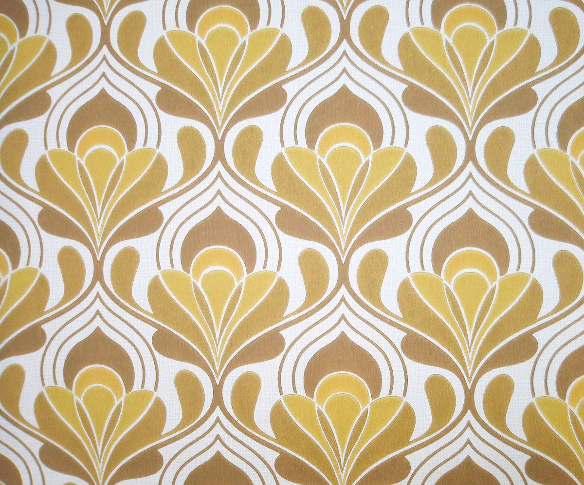 Vintage wallpaper brown hourglass retro lines 1970s for Wallpaper samples