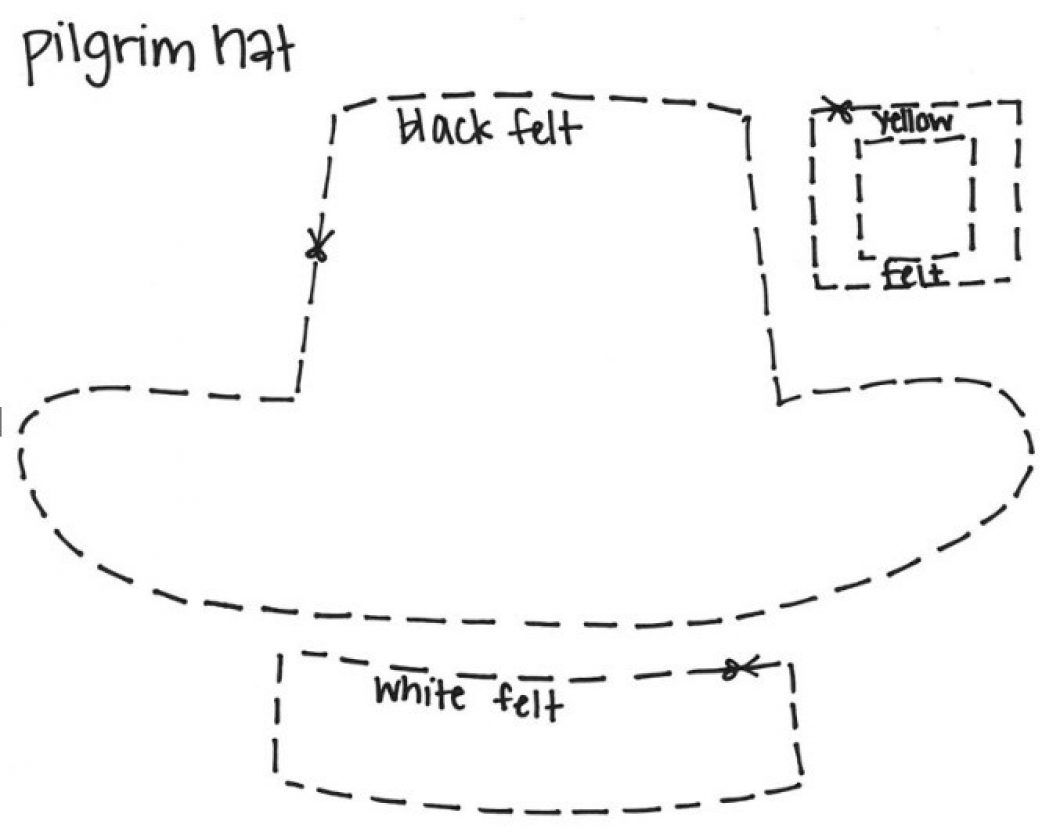 pilgrim hat template fitted thankgiving pinterest