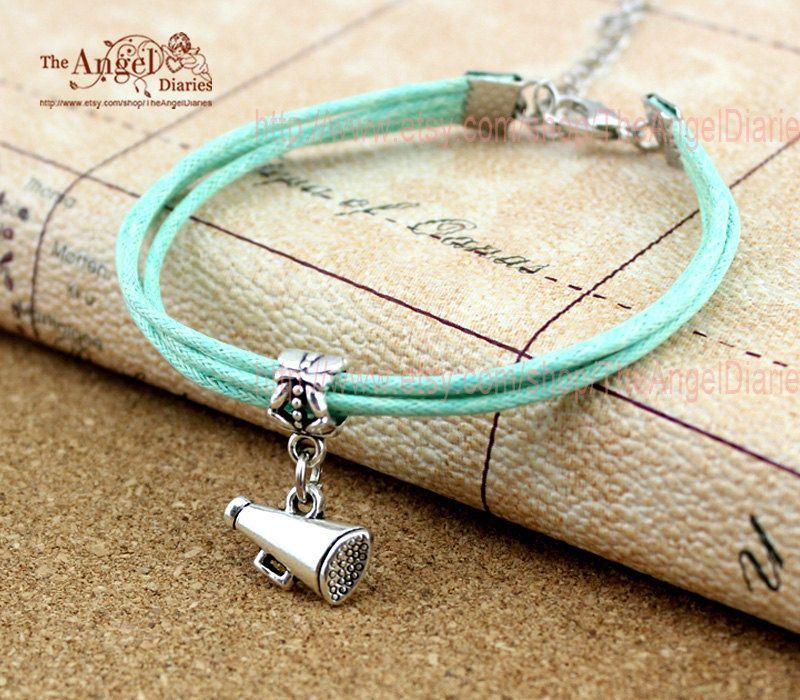 Cheer Charm Bracelets: MEGAPHONE Charm Bracelet Cheerleader Cheer By