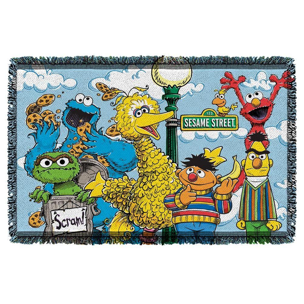 Sesame Street Retro Gang Throw Blanket Tapestry Weaving