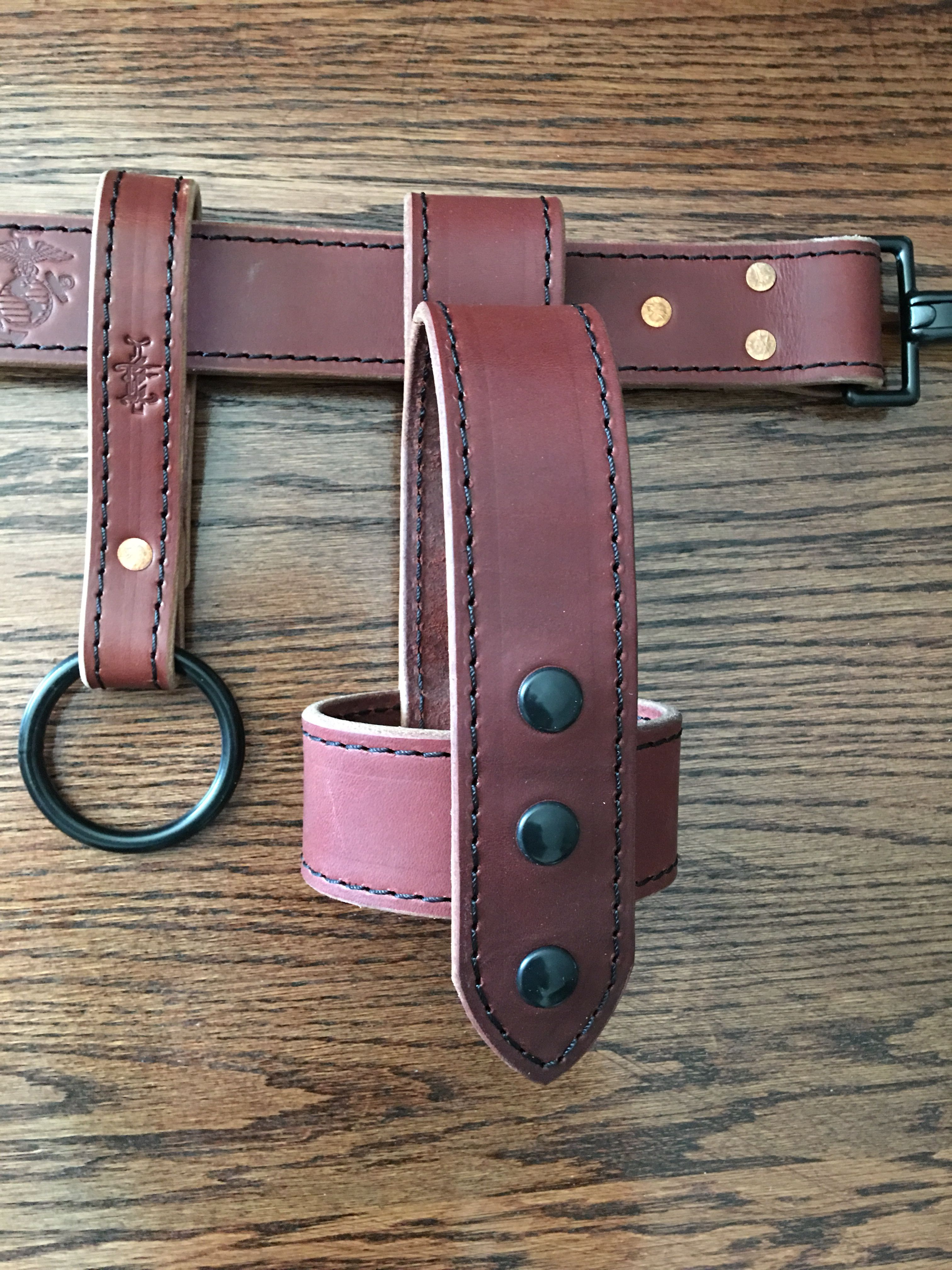 Firefighter axe scabbard leather leather working