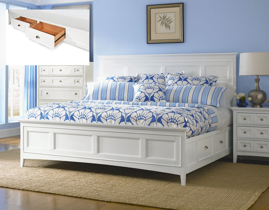 Magnussen Kentwood King Size Storage Drawer Bed In White Finish