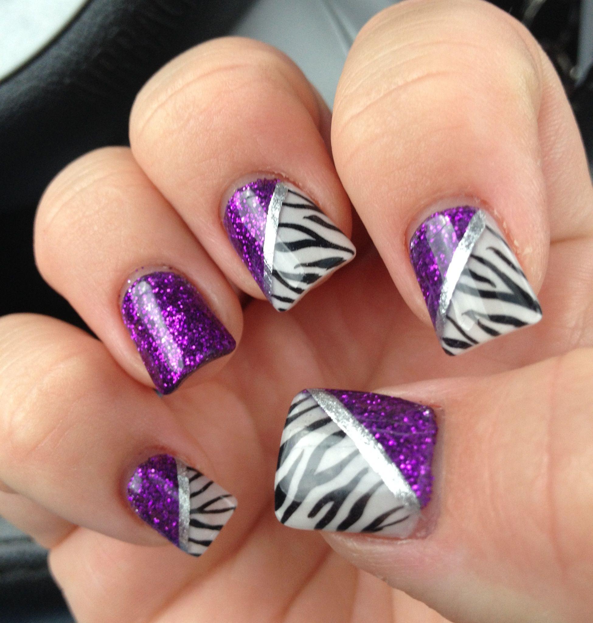 Zebra Nail Ideas: Glitter Purple/zebra Design Nails :) My Nails