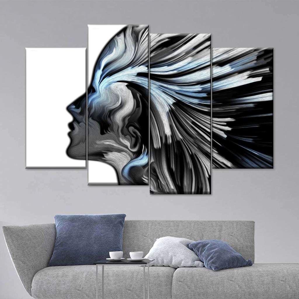 Silver Profile Colors Multi Panel Canvas Wall Art Vibrant Wall Art Canvas Wall Art Wall Canvas