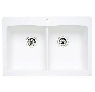 Blanco 440221 White Diamond 33 Drop In Or Undermount Double Basin Silgranit Kitchen Sink Faucetdirect Com Drop In Kitchen Sink Sink Best Kitchen Sinks