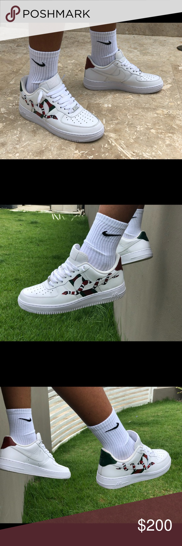 Air Force 1 Gucci custom Gucci, Air force 1, How to wear
