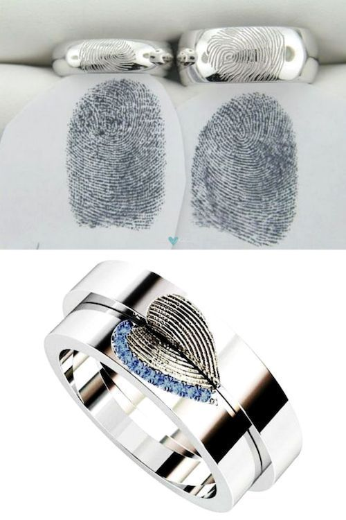 Your fingerprints will make these alliances something unique that you will want to wear until death