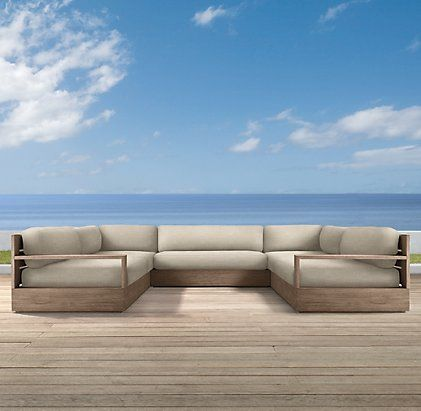 Marbella collection weathered grey teak outdoor for Restoration hardware teak outdoor furniture