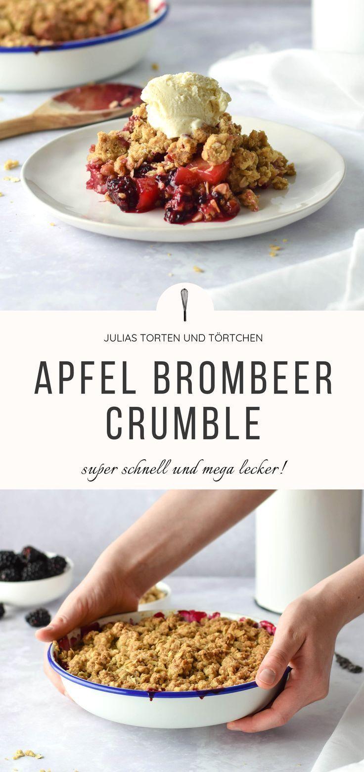Apfel Brombeer Crumble mit Haferflocken Streuseln