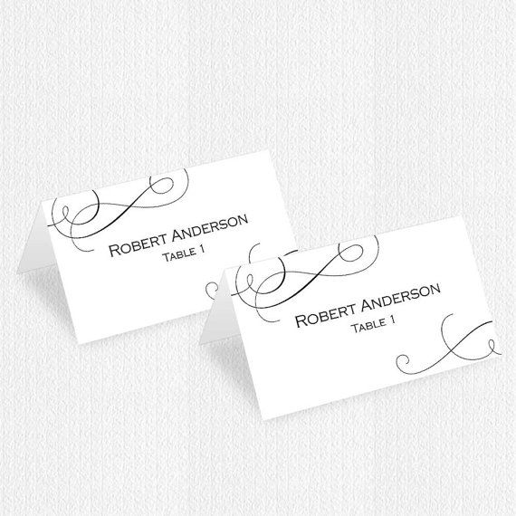 Printable wedding place card templateName place card Tented