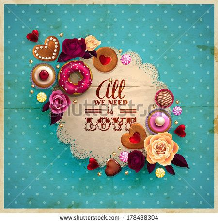 Vintage frame for your text decorated with sweets, cupcakes, cookies roses, doughnut, cakes, chocolate,and golden stars.  - stock vector