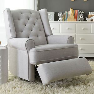 Best Chairs Finley Swivel Glider Recliner Gray Tweed