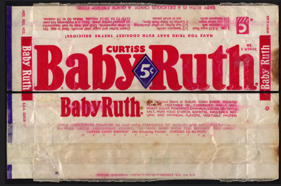 Curtiss Baby Ruth 5 Cent Candy Bar Wrapper Baby Ruth Cookie Recipe 1950 S Candy Bar Wrappers Baby Ruth Cookie Recipes
