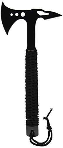 MTech USA MT-AXE8B Camping Axe, Black Stainless Steel, Black Cord Wrapped Handle, 15-Inch Overall. For product & price info go to:  https://all4hiking.com/products/mtech-usa-mt-axe8b-camping-axe-black-stainless-steel-black-cord-wrapped-handle-15-inch-overall/