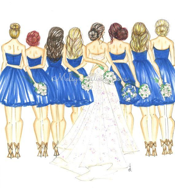Wedding Gown Illustrations: Bride And Bridesmaid Illustration