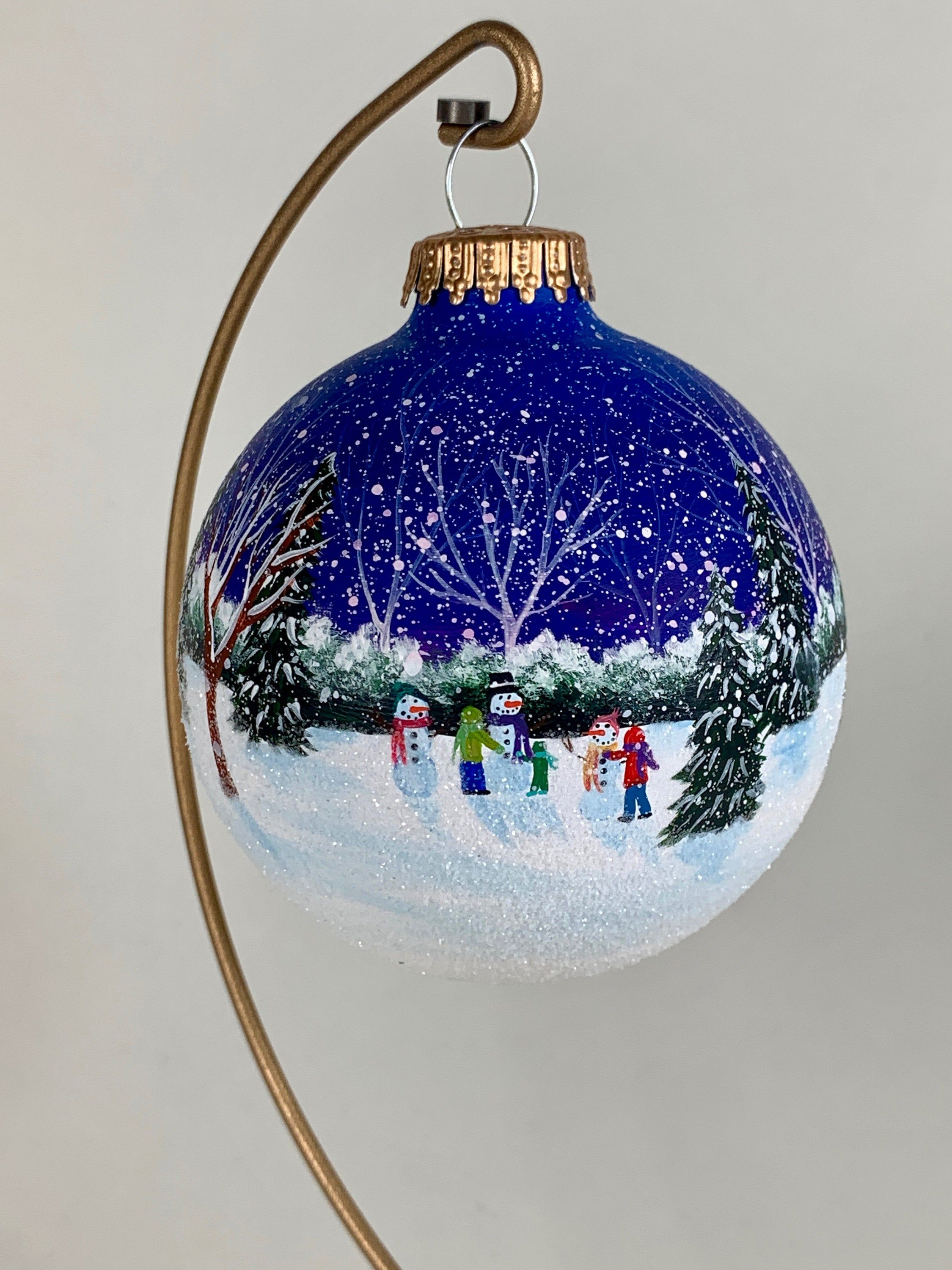 Three Children Building Snowmen In Snowy Winter Landscape Etsy In 2020 Christmas Ornaments Handpainted Christmas Ornaments Painted Christmas Ornaments