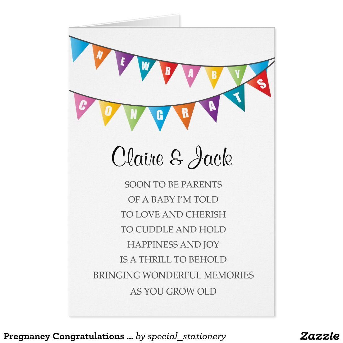 Pregnancy Congratulations New Baby Bright Poem Card Baby