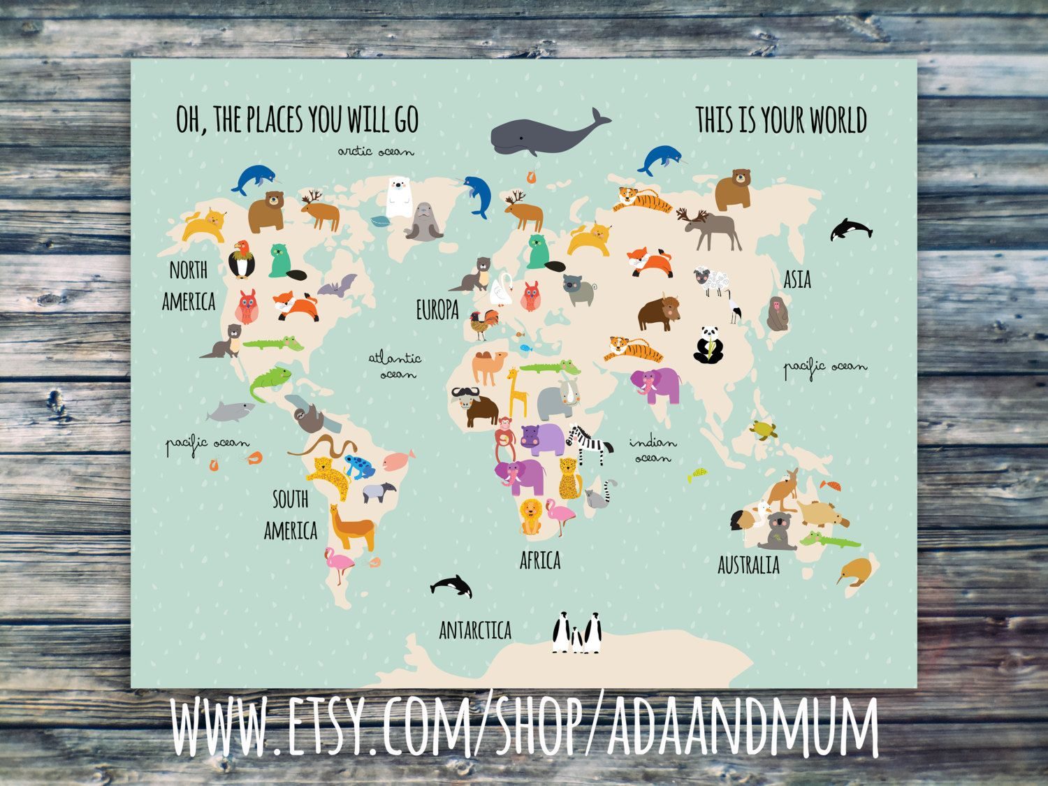 Animal planet world map for kids continents oceans animals world map with animals for kids continents oceans and animals gumiabroncs Images