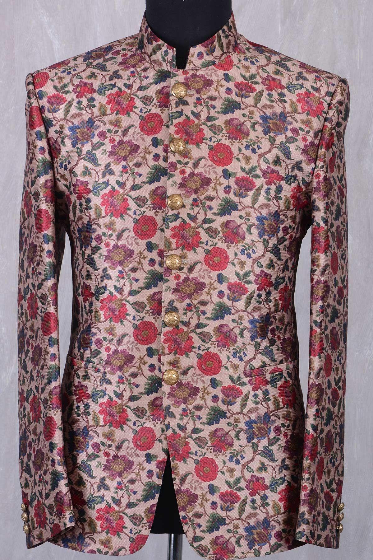 cf02eb268d Multi Color Jute Printed Jodhpuri Suit-ST700   Jodhpuri Suits ...