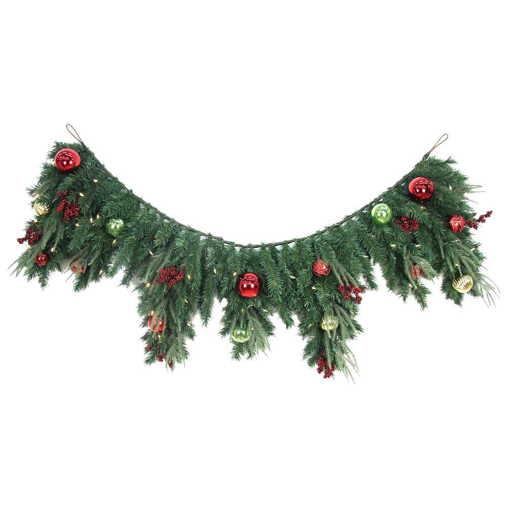 6 ft. LED Pre-lit Jolly Artificial Mantel Garland with 50 Battery ...