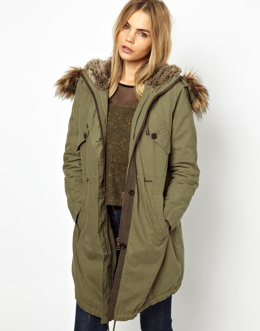 Parka London Levina Parka with Detachable Faux Fur Trim ...