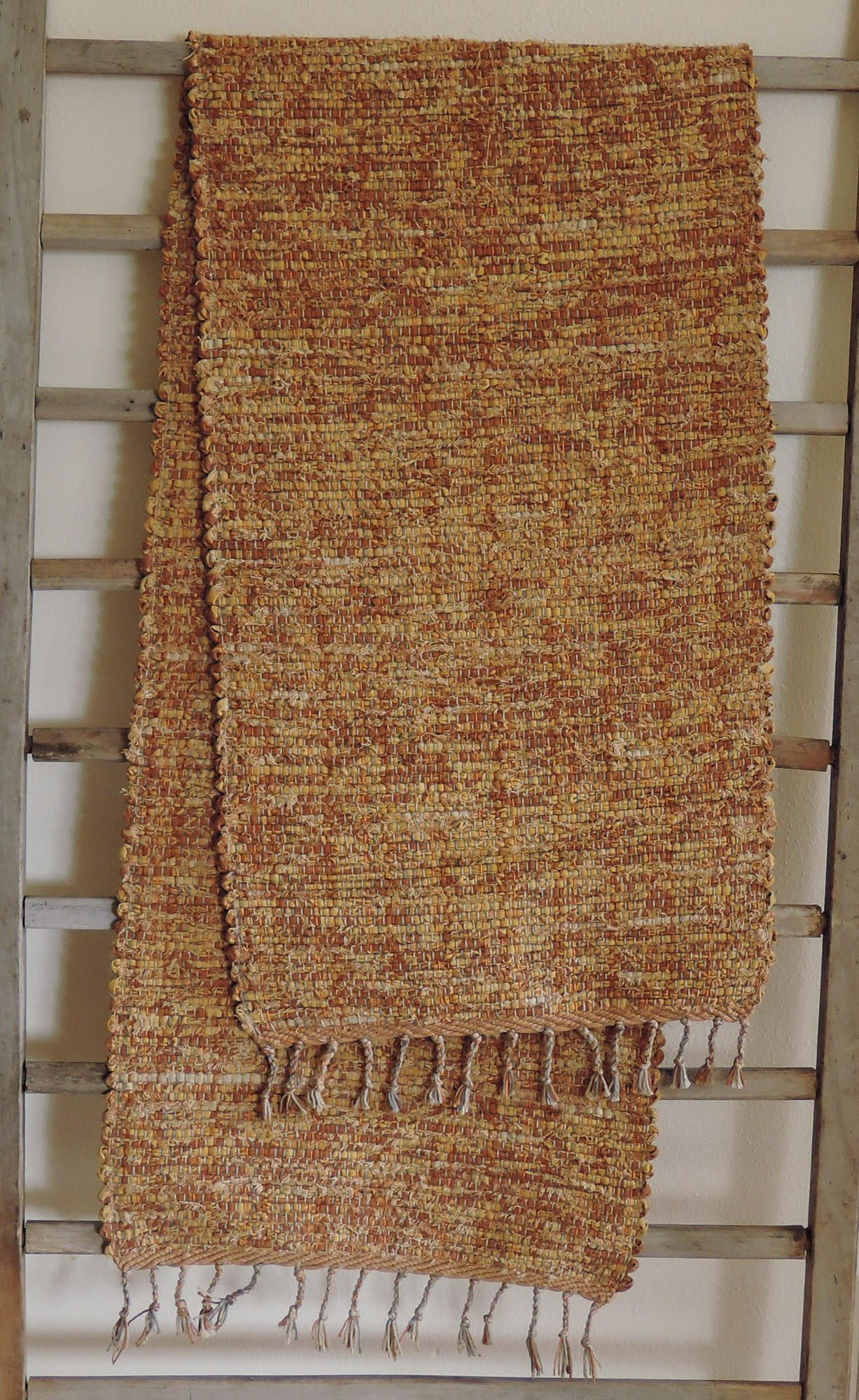 "Hand Woven Harvest Yellow Table Runner - 14"" x 56"" by StudioatRedTopRanch on Etsy"