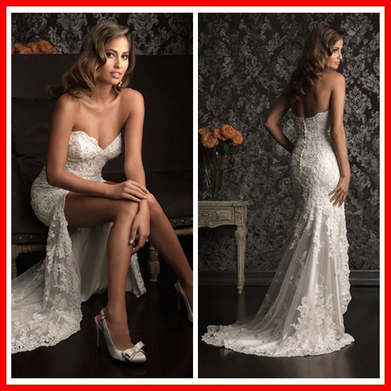 Lace Wedding Dresses 2014 New Fashion Sexy Short Front Long Back ...