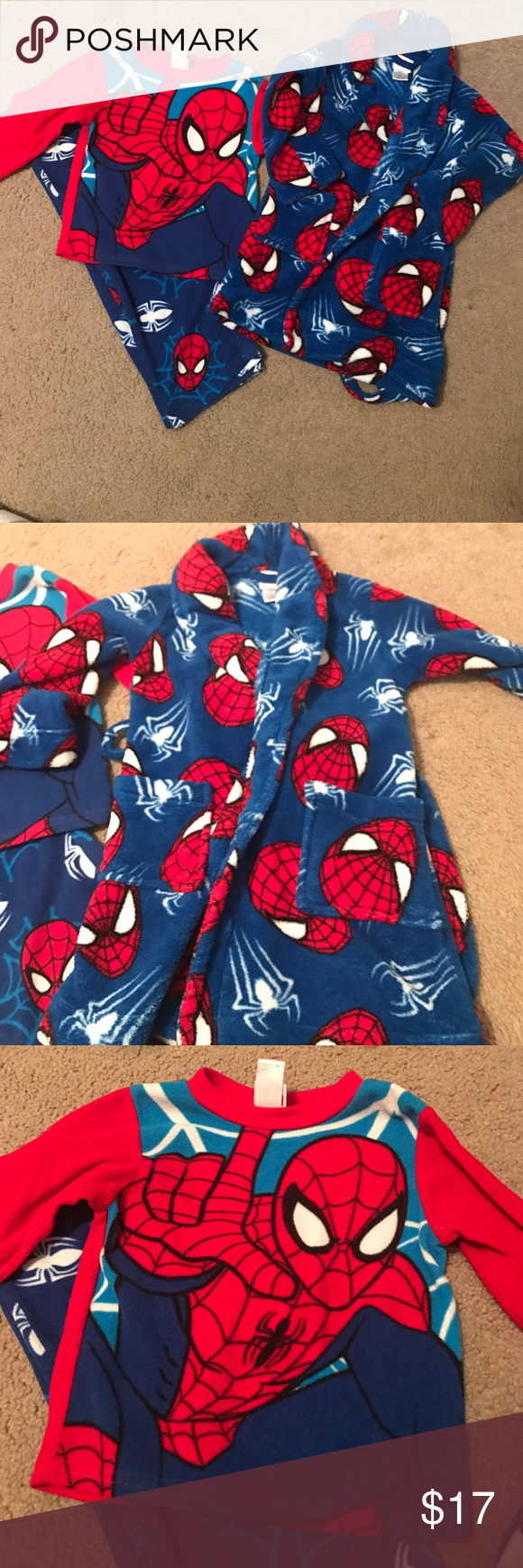 fe22717c10 3 Piece Spider-Man Pajama set All three pieces fleece  pajama top and  bottoms