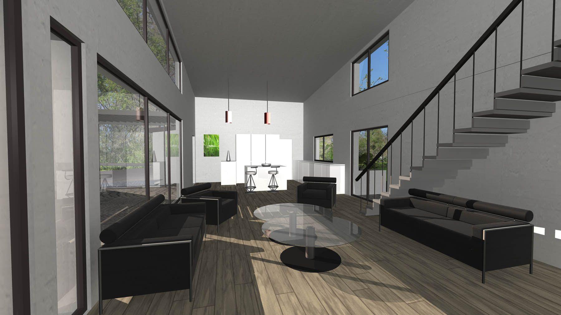 maison contemporaine toiture en zinc salon double hauteur avec plafond rampant c t de. Black Bedroom Furniture Sets. Home Design Ideas