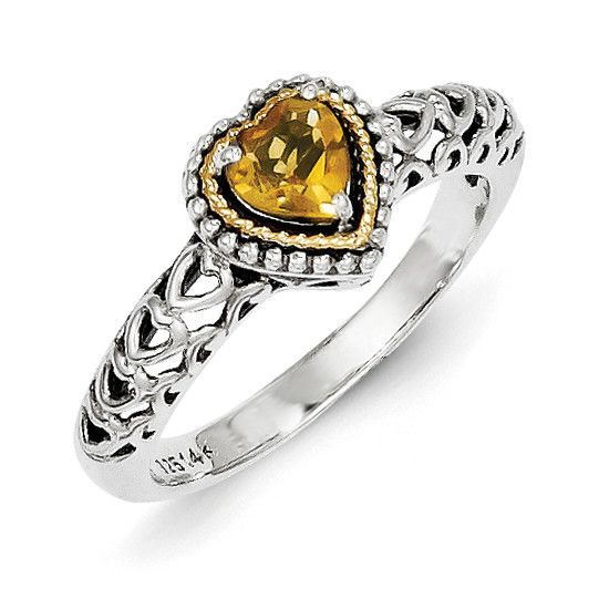 Sterling Silver w/14k Citrine Ring QTC841