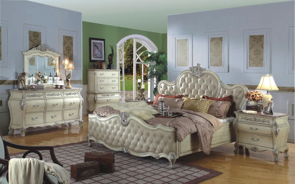 High End Ay Queen Bed Bedroom Set, White Traditional Bedroom Furniture