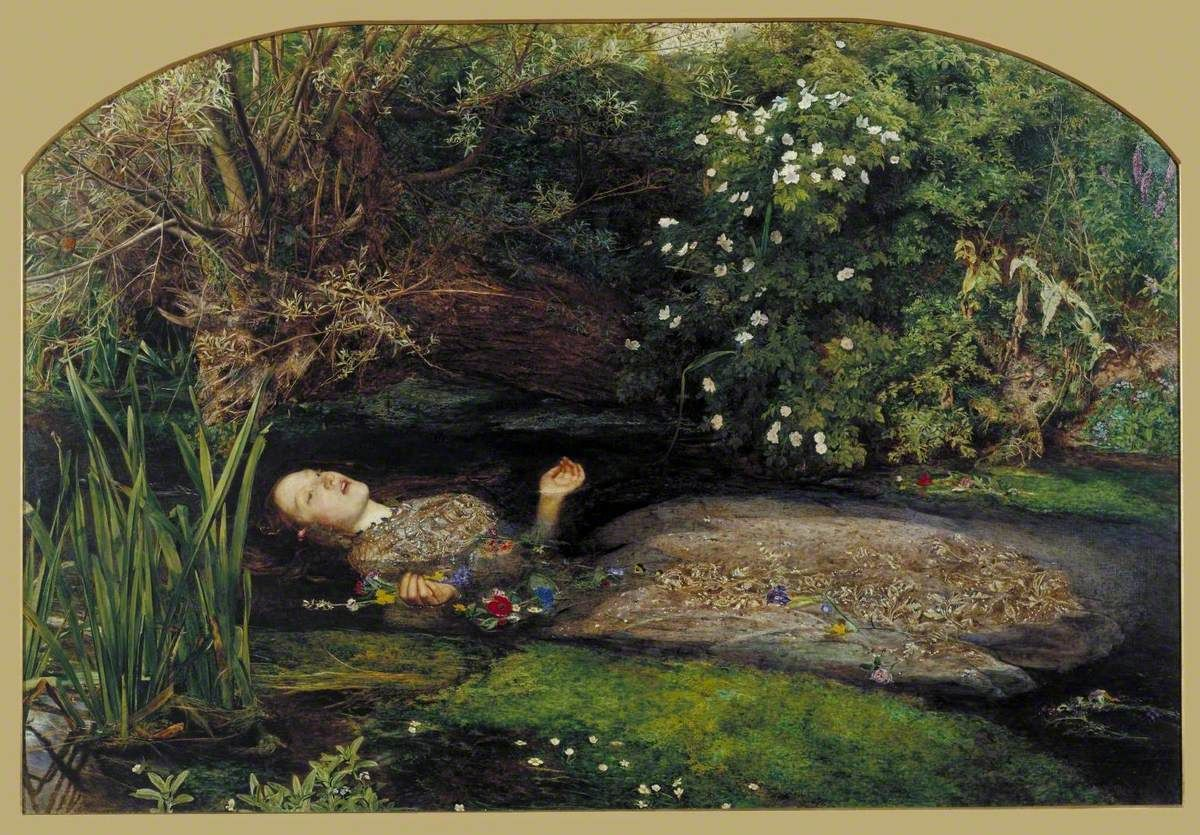 Ophelia by John Everett Millais, painted in 1851-2