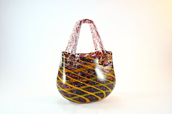 Murano Style Glass Basket Purse N Vase Hand Made