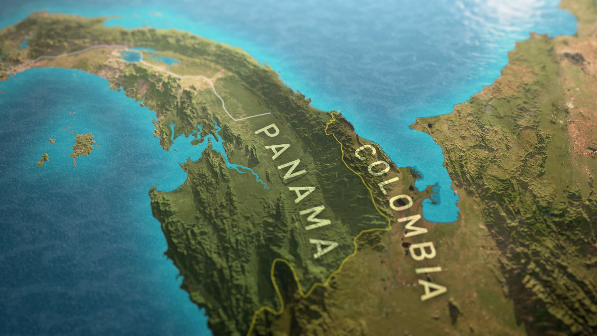 Still of Panama and Colombia from map