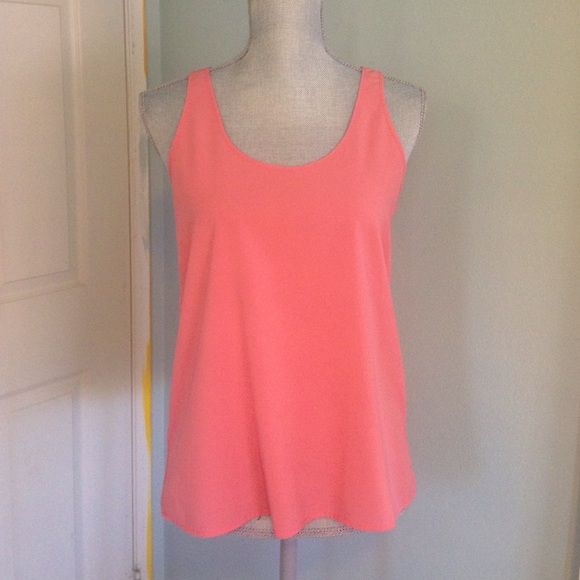 Coral Frenchi Tank Top coral colored, size small. not sheer, silky ...