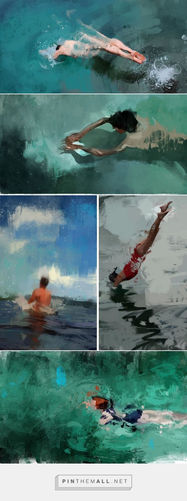Lush Paintings of Solitary Swimmers by Pedro Covo | Colossal - created via http://pinthemall.net