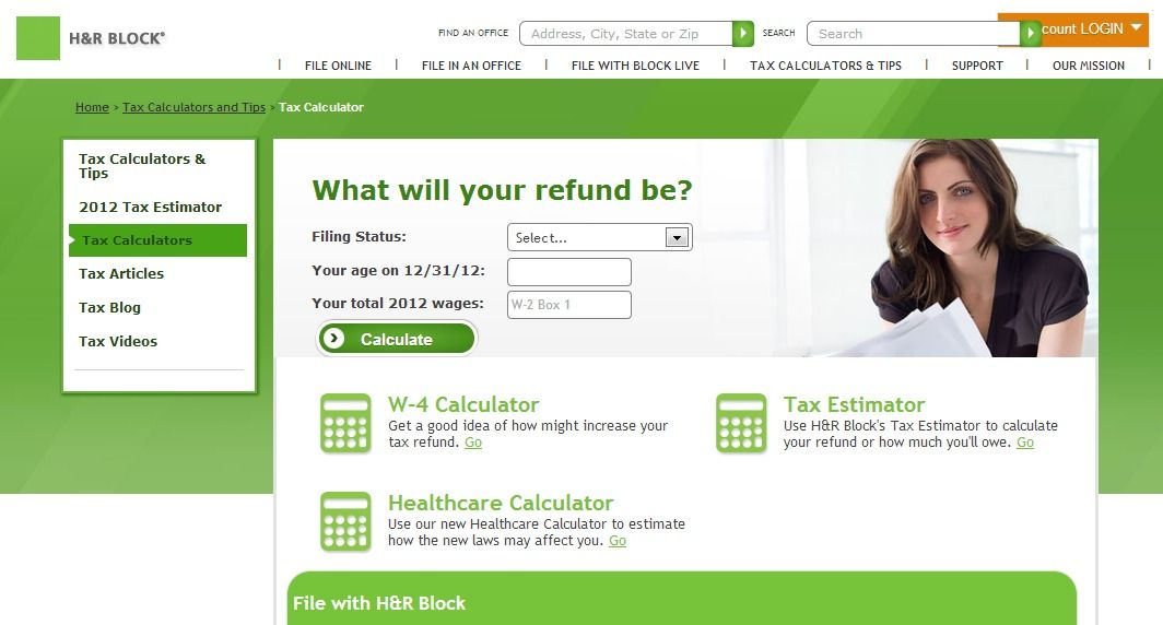 HR Block  Tax Calculators Financial Money Tax Calculator