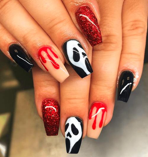 Christmas Eyeshadow Looks With Images Halloween Nail Designs Halloween Nails Halloween Nail Art