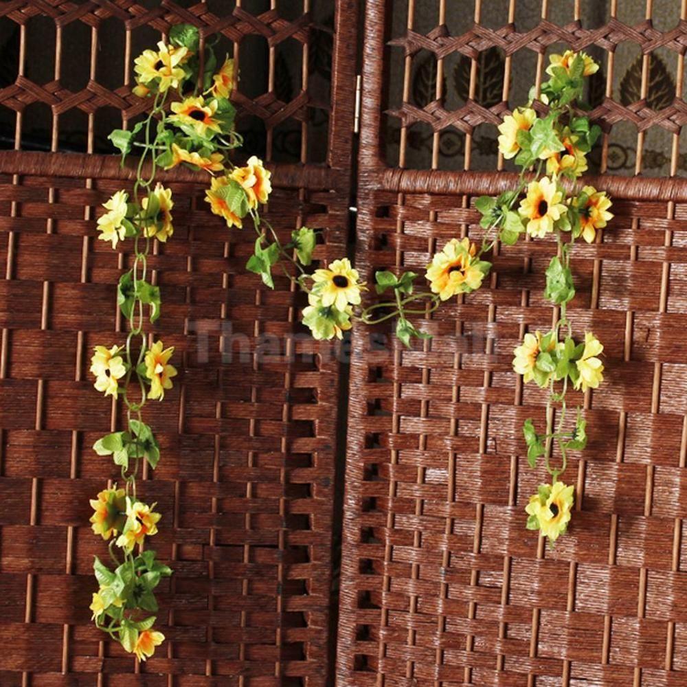 2pcs Artificial Sunflower Garland Silk Flower Vine Wedding