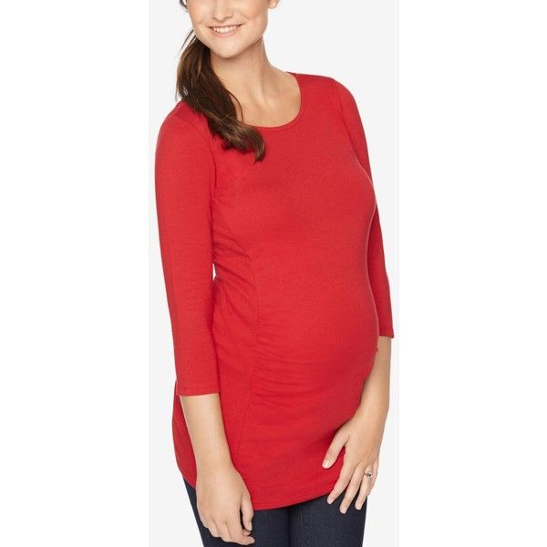 Motherhood Maternity Three-Quarter-Sleeve Top ($25) ❤ liked on Polyvore featuring tops, red, three quarter length sleeve tops, 3/4 length sleeve tops, red top, three quarter sleeve tops and motherhood maternity